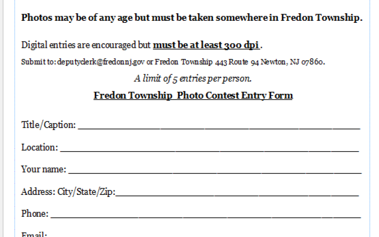 Photo of Entry form for Photo Contest